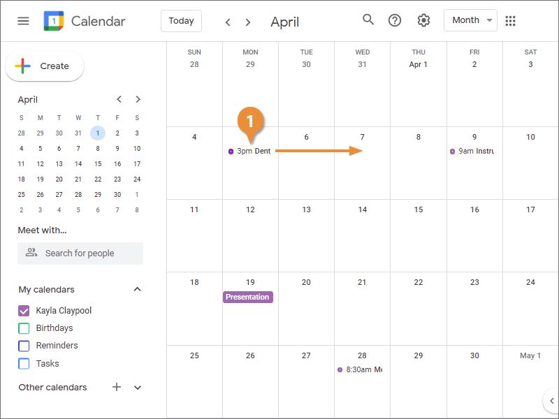 Reschedule an Event