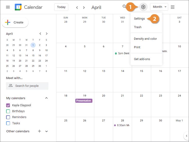 Modify Your Calendar Settings