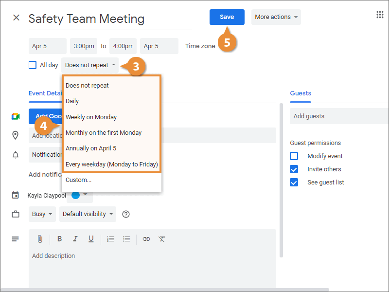 Create a Repeating Event