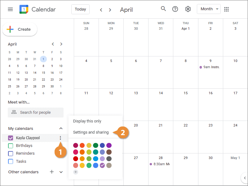 Share Your Calendar Publicly or Within an Organization