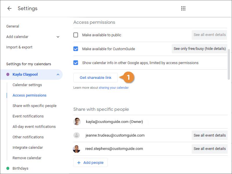 Create a Shareable Link to Your Calendar