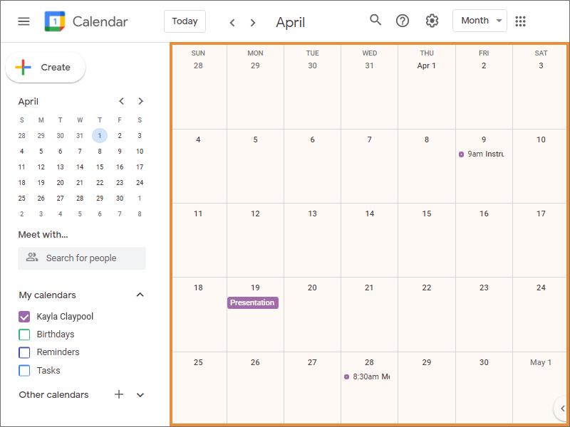 The Calendar Grid