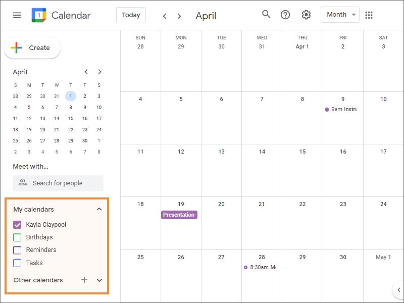 The Calendar List