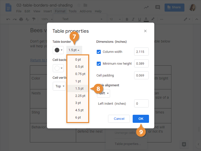 Table Borders and Shading