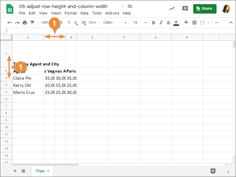 How to Adjust Row Height or Column Widht Manually in Google Sheets.