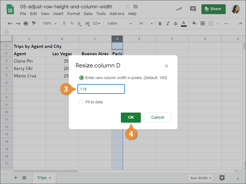 How to Specify a Row Height or Column widht in Google Sheets.