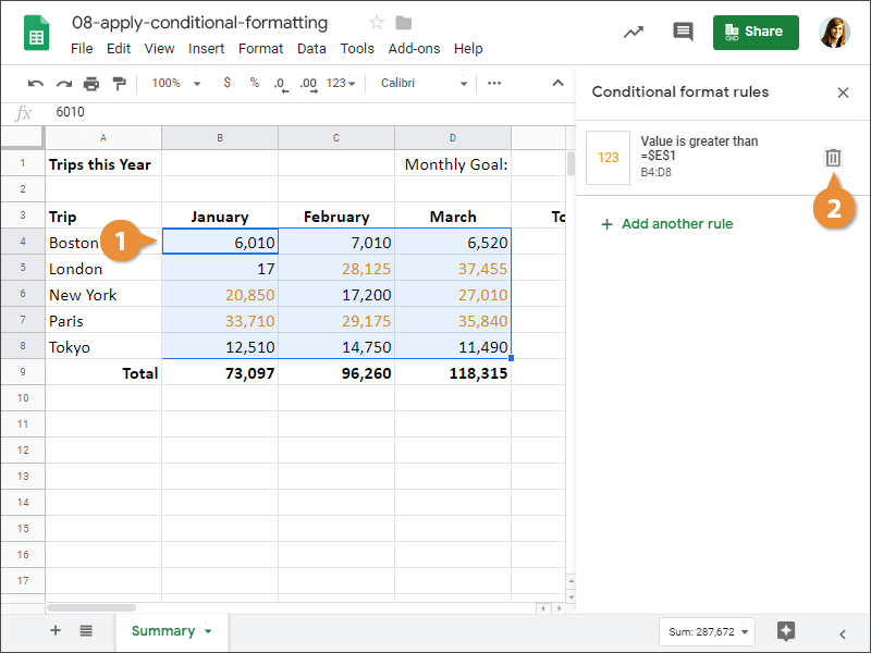 How to delete a Conditional formatting rule in Google Sheets.