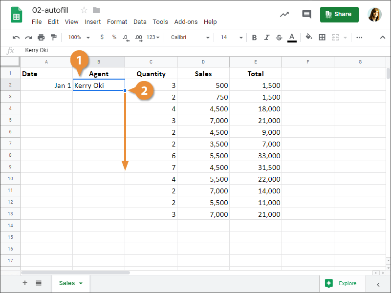 How to use Autofill to Duplicate Data in Google Sheets