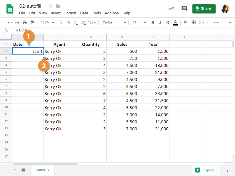How to use Autofill to Enter a Series in Google Sheets.