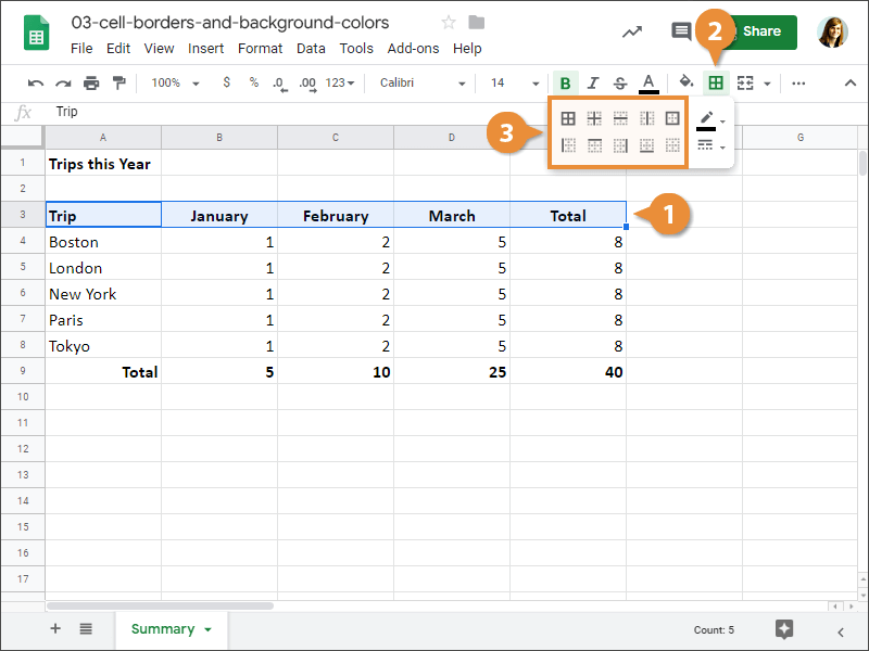 How to add a cell border in Google Sheets.