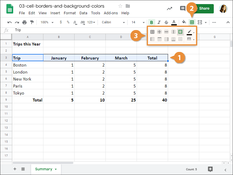 How to edit a cell border in Google Sheets.