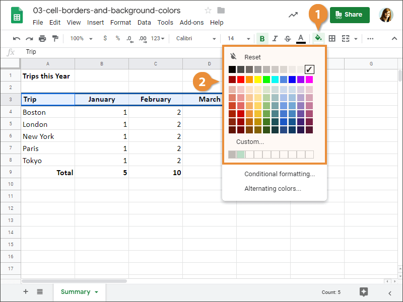 How to change the fill color in Google Sheets.