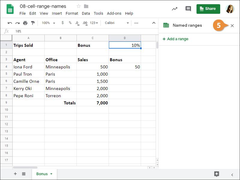 Cell Range Names