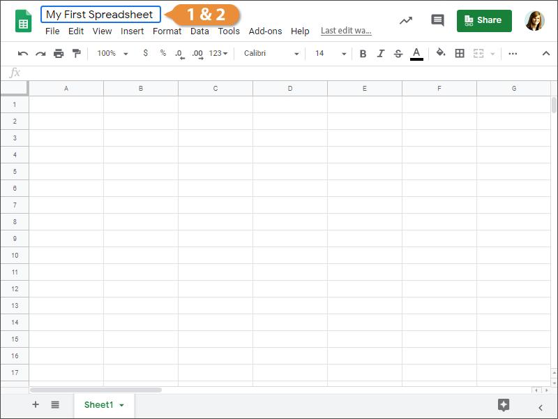 Name a Spreadsheet