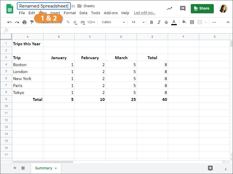 Rename a Spreadsheet