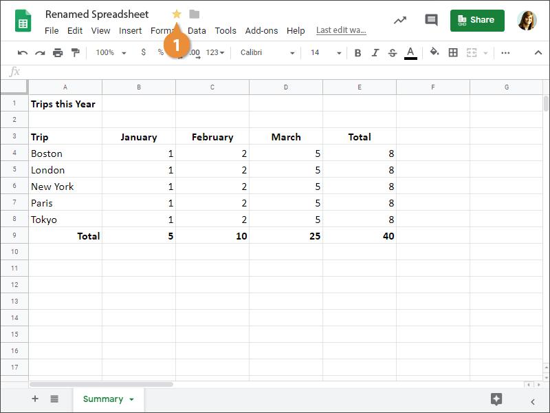 Star a Spreadsheet