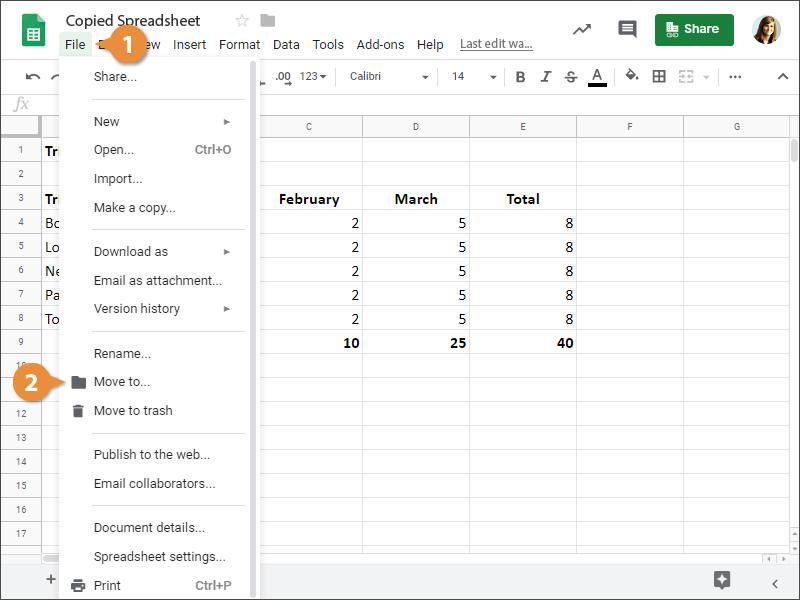 Move a Spreadsheet