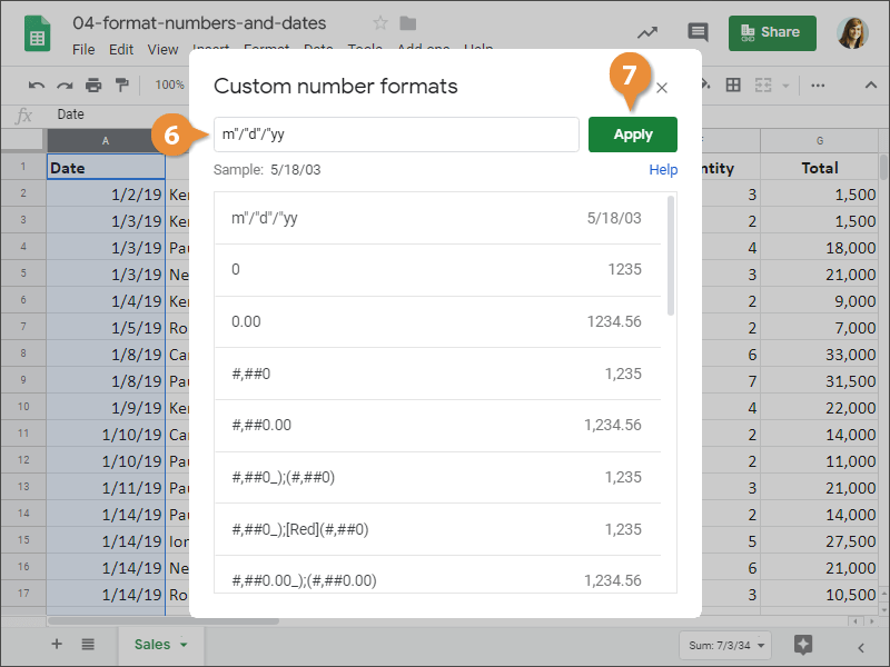 How to create a custom number format in Google Sheets.