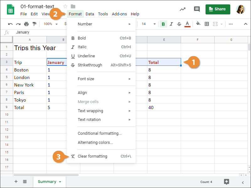 How to clear text formatting in Google Sheets.