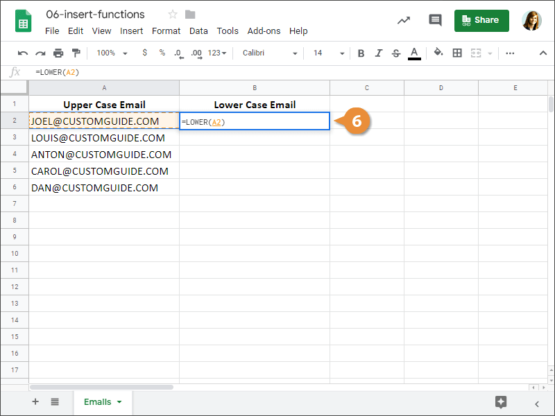 How to Insert a Function in Google Sheets.