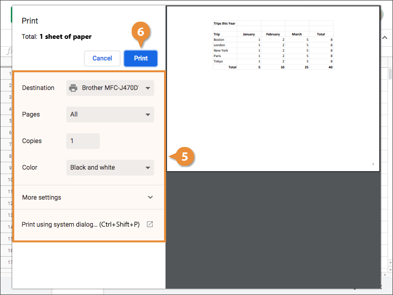 Print a Spreadsheet