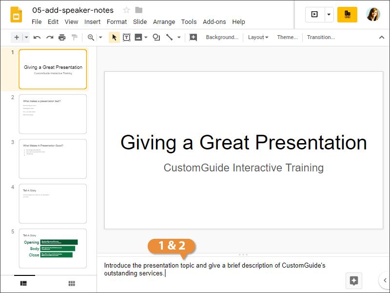 Add Speaker Notes