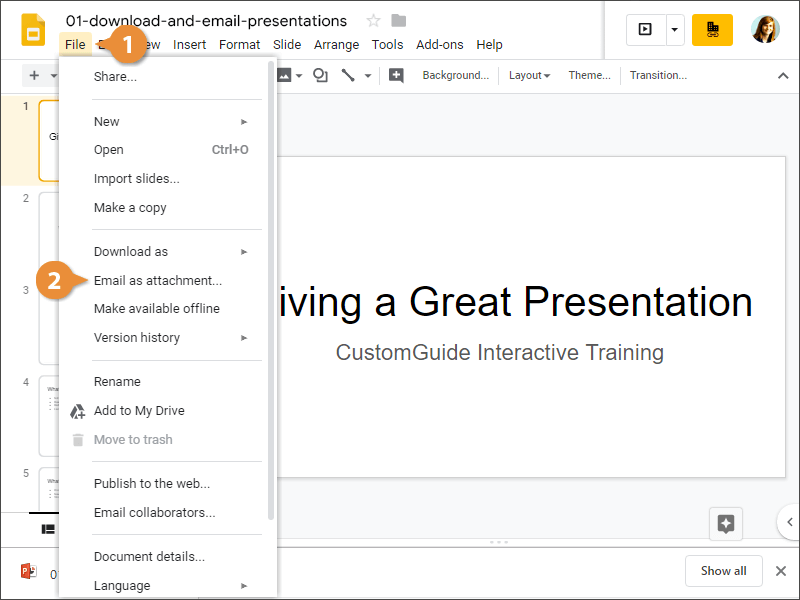 Email a Presentation