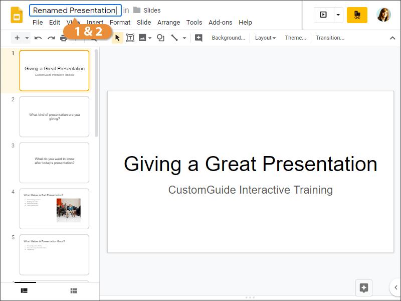 Rename a Presentation