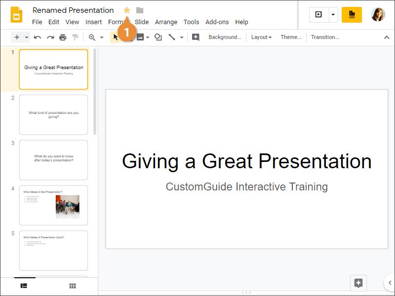 Star a Presentation