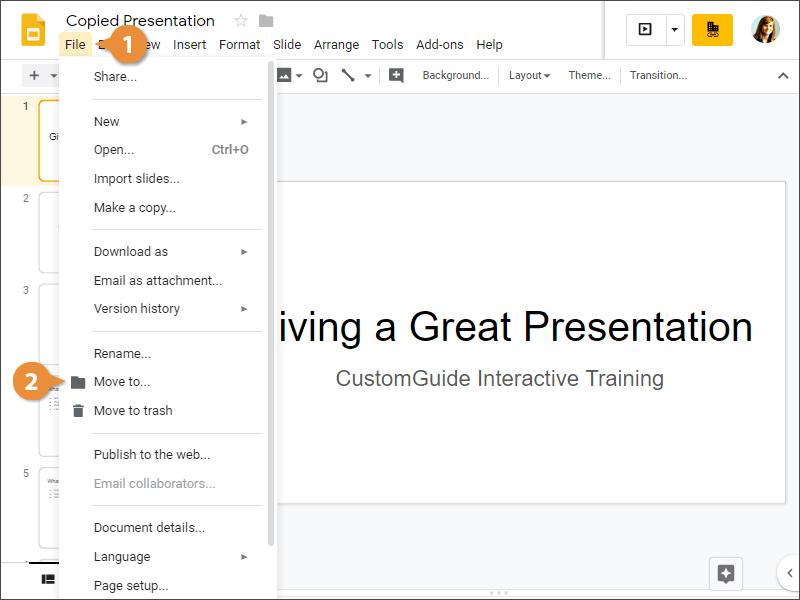 Move a Presentation