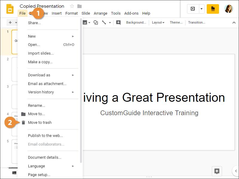 Delete a Presentation
