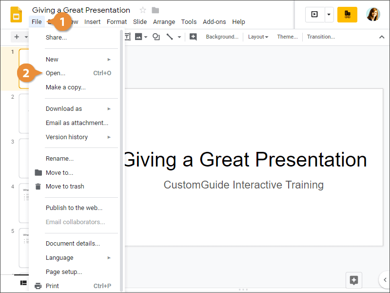 Open a Presentation from Google Slides
