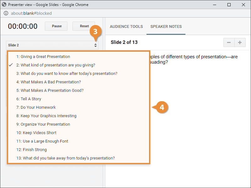 Navigate in Presenter View