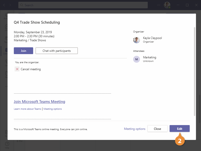 Edit and Cancel Meetings