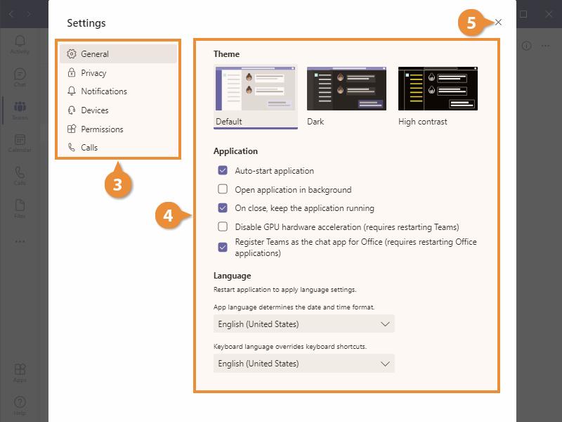 Teams Application Settings