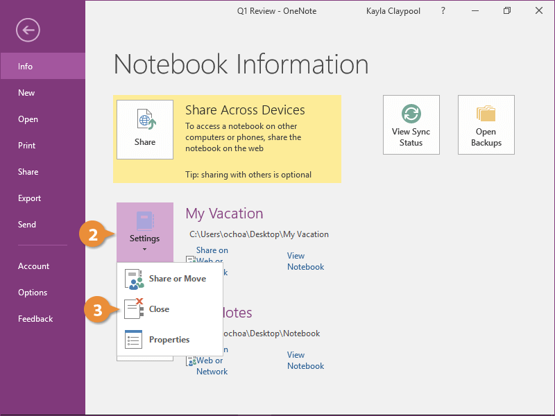 Close a Notebook