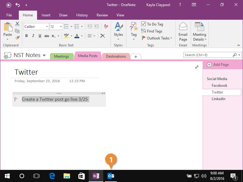 Open a Task in Outlook