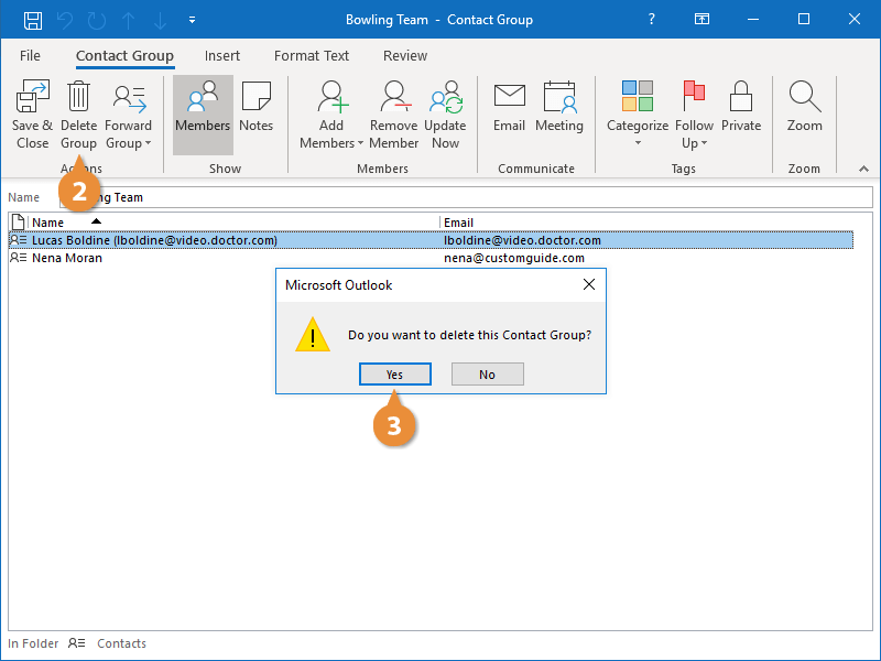 Delete Contact Groups