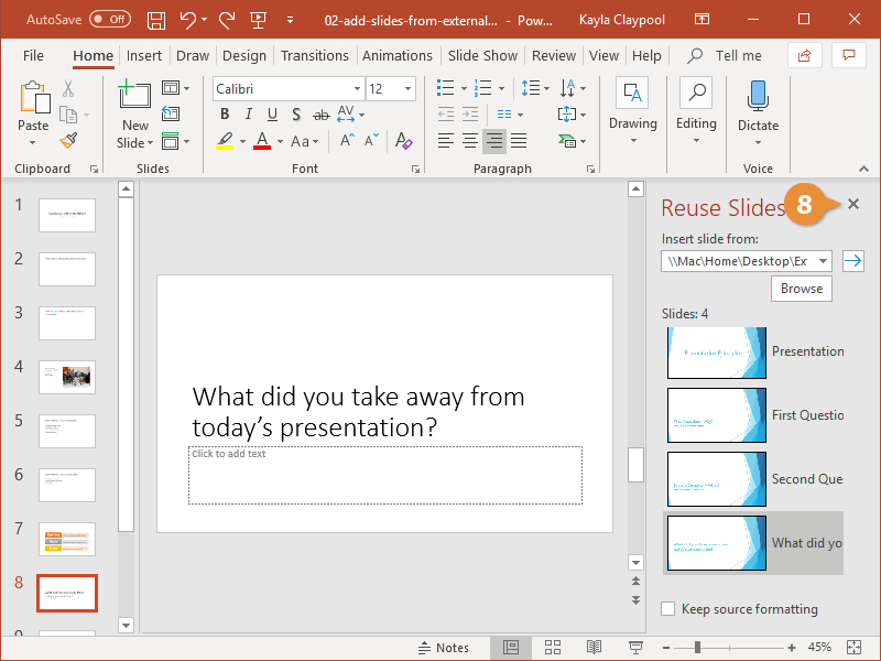 Add Slides from External Sources