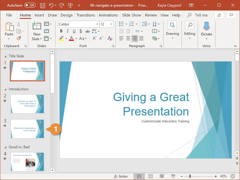 Navigate a Presentation