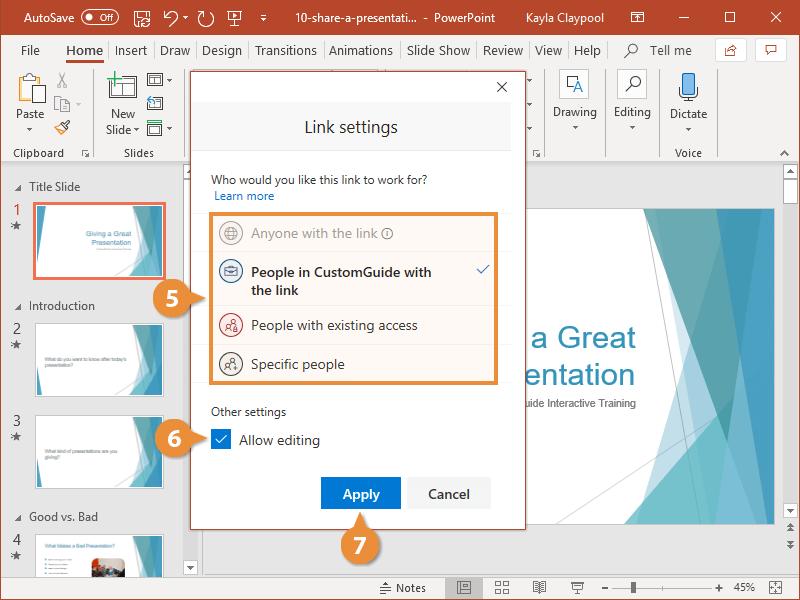 Share a Presentation