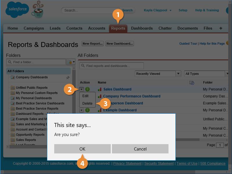 Delete a Dashboard