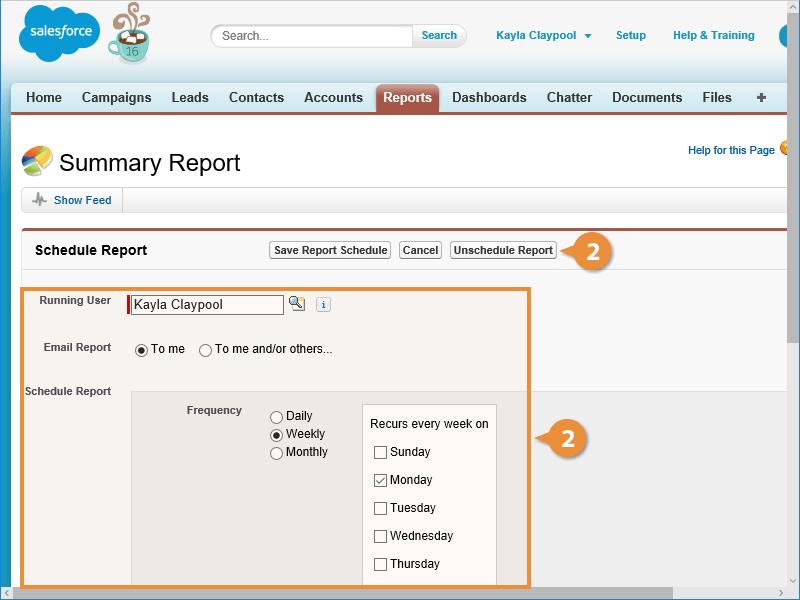 Edit or Remove a Report Schedule