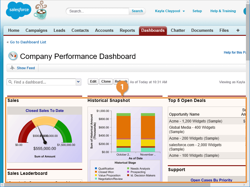 View a Dashboard Report