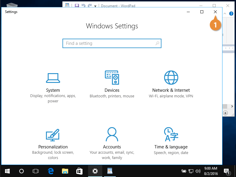 Program windows.
