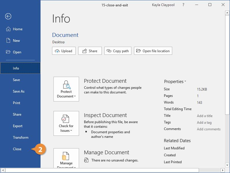 Close a Document