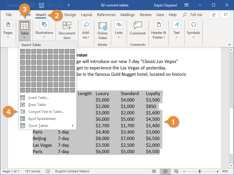 Convert Text to Tables