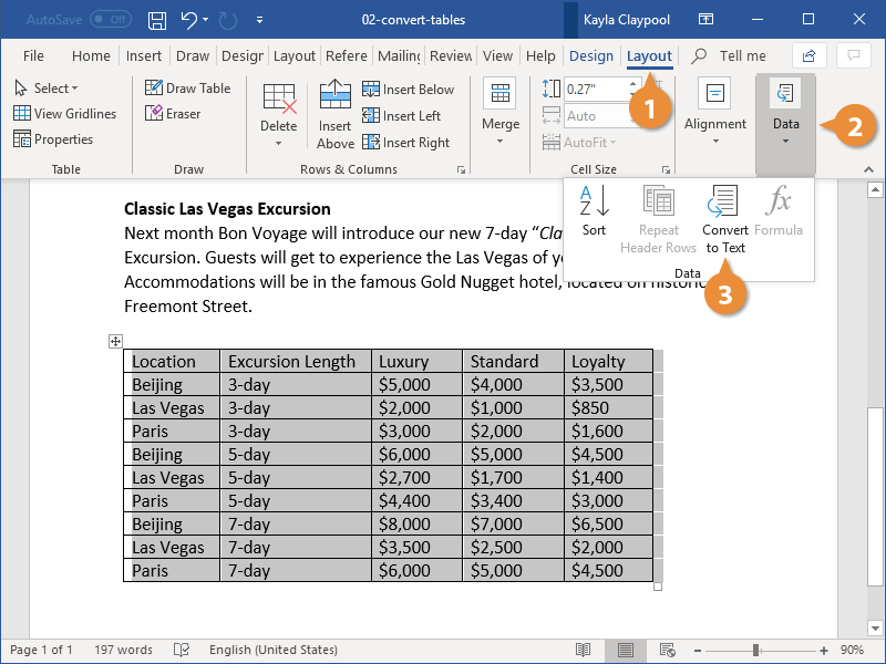 Convert Tables to Text