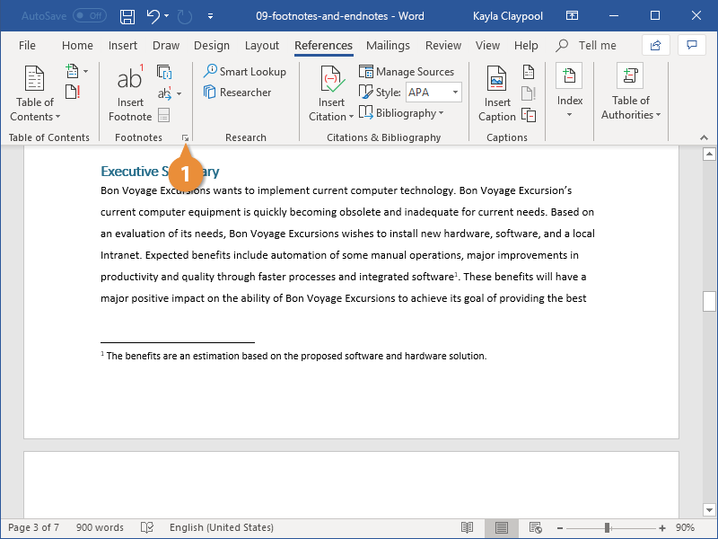Modify Footnote and Endnote Properties