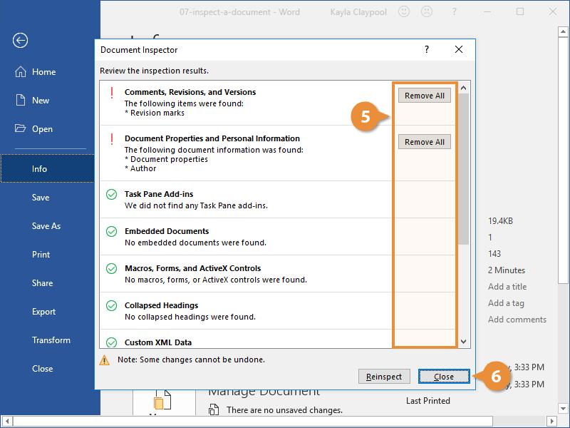 Inspect a Document Advanced